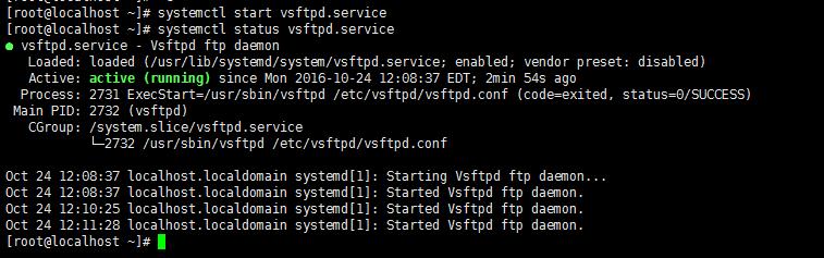 vsftp安装并启动成功